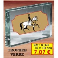 Trophée VERRE : Réf. 01G2 15 x 10 cm