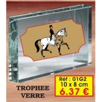Trophée VERRE : Réf. 01G2 - 10 x 8 cm
