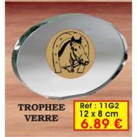 Trophée VERRE : Réf. 11G2 - 12 x 8 cm