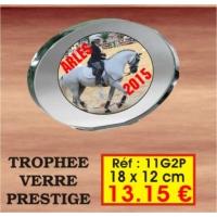 TROPHEE VERRE PRESTIGE : REF. 11G2P - 18 x 12 CM