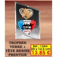 TROPHEE VERRE PRESTIGE : REF. 13G4 - 20 x 14,5 CM