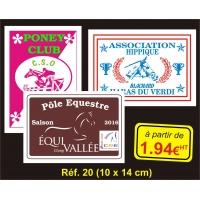Plaque PVC Réf. 20