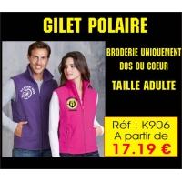 Rèf K 906 - Gilet Polaire non brodé - Possibilité de Broderie sur coeur et ou dos sur Devis