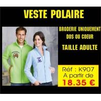 Rèf K 907 - Veste Polaire non brodée - Possibilité de Broderie sur coeur et ou dos sur Devis