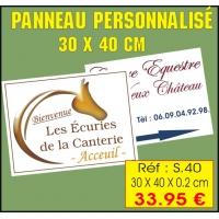 Réf. S.40 PANCARTE PERSONNALISÉE 30x 40 cm