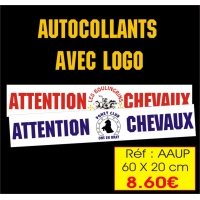 Autocollants ATTENTION CHEVAUX personnalisé Réf : AAUP