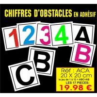 Réf. ACA - Chiffres obstacles ADHESIFS (20 x 20 cm)